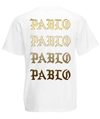 TRVPPY Herren T-Shirt I FEEL LIKE PABLO in vielen versch. Farben mit Rücken -und Brustaufdruck, Gr. S-5XL Gold-Weiß