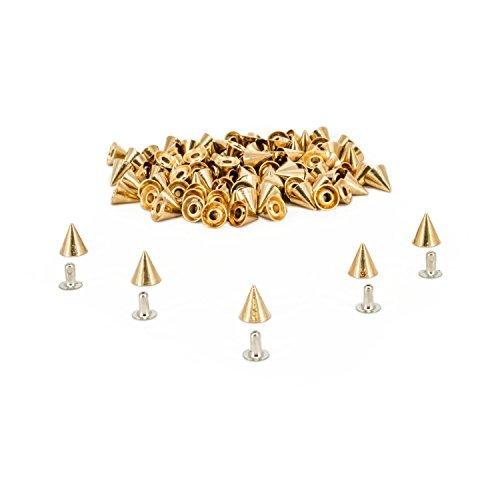 8mm x 8mm 50 Stück von Kegel NIET BOLZEN Punk Stil Spikes mit Presswerkzeug für Leder Basteln DIY Denim Shop von Trimming Shop - Gold