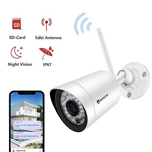 Dericam IP Kamera aussen weitwinkel,Full HD 1080P@25fps WLAN Kamera Outdoor with HD 3MP Objektiv, Externer Speicherkartensteckplatz Verfügbar, B2, Weiß