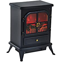 HOMCOM Chimenea Eléctrica de Pie Movible y Decorativo Calefactor Estufa 950/1850W Llama LED con