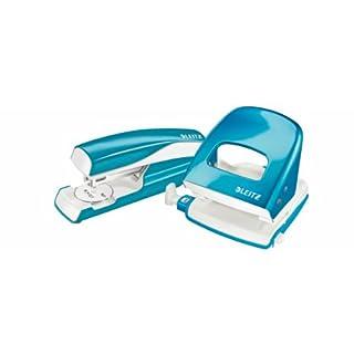Esselte Leitz Locher NeXXt 5008 und Heftgerät NeXXt 5502 im Set, blau metallic