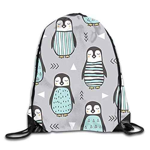 HLKPE Penguins with Sweater Geometric Cute Gym Drawstring Bags Travel  Backpack Tote School Rucksack b21469df112f7