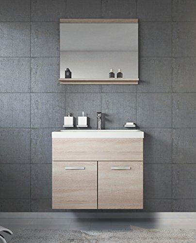 Badezimmer Badmöbel Montreal 02 60cm Waschbecken Sonoma Eiche - Unterschrank Waschtisch Spiegel Möbel