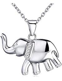 MESE London Collar Elefante Plata De Ley De 925 Colgante De La Suerte - Elegante Caja De Regalo