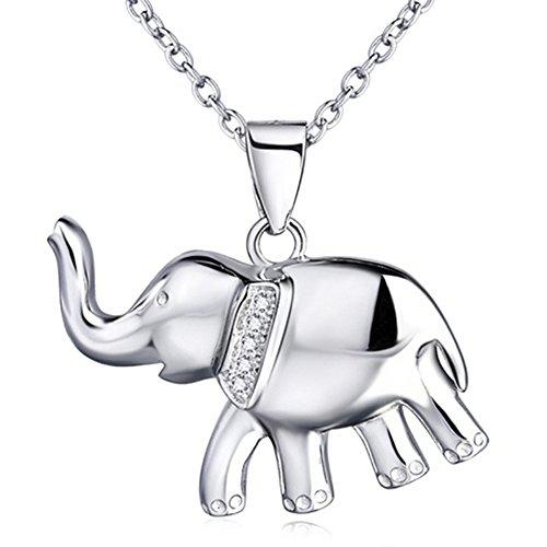 MESE London Damen Elefant Halskette aus 925 Sterling Silber mit Zirkonia 45 cm Länge (Halskette Blau London)