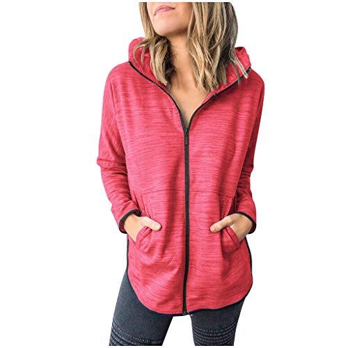 Xuthuly Mode Frauen Kurze Reine Farbe Langarm Mit Kapuze Reißverschluss Jacke Mantel Casual Plain Pocket Outdoor Sport Mantel
