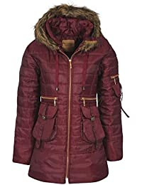 Womens Ladies Quilted Puffer Puffa Jacket Coat Parka Padded Fur Hood Winter Warm [Wine, UK M]