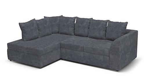 Divano angolare in tessuto, divano angolare destro o sinistro, effetto pelle, grey, sinistra