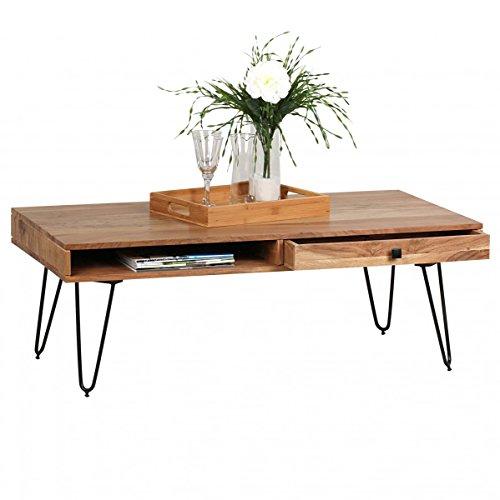 Home Collection24 Table Basse bagli Design en Bois Massif d'acacia Largeur 120 cm Table de Salon Design Pieds en métal Style Maison de Campagne Table d'appoint