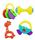 #6: Zamp High Quality Non Toxic Baby Toys Rattle Set of 4 Pieces for Infants and Toddlers - Multi color