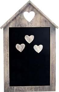 chic shabby tafel memoboard magnetisch mit 3 herz magneten aus holz. Black Bedroom Furniture Sets. Home Design Ideas