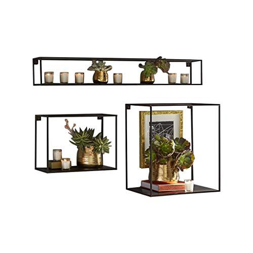 WEN PING Schwimmendes Regal Wand Hängender Rahmen Lagerungstyp Ausstellungsstand Schmiedeeisen Rahmen Dekoration Büro Blume Stand DREI Dimensional (Color : Black)