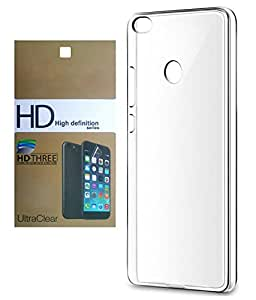 Mi Max DEPARQ Transparent Soft Back Case Cover With Ultra Clear Screen Guard Combo