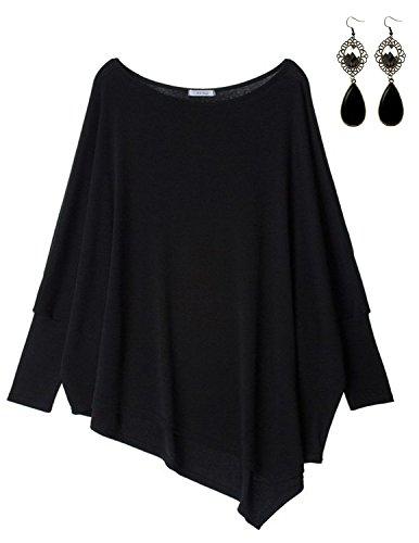Sitengle Damen Langarmshirt Blusen Asymmetrisch Solide T shirt Casual Loose Rundhals Langshirt Oberteil Tops