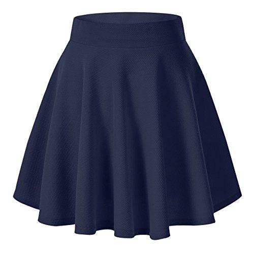 Urban GoCo Falda Mujer Elástica Plisada Básica Patinador Multifuncional Corto Falda (M, Azul marino)