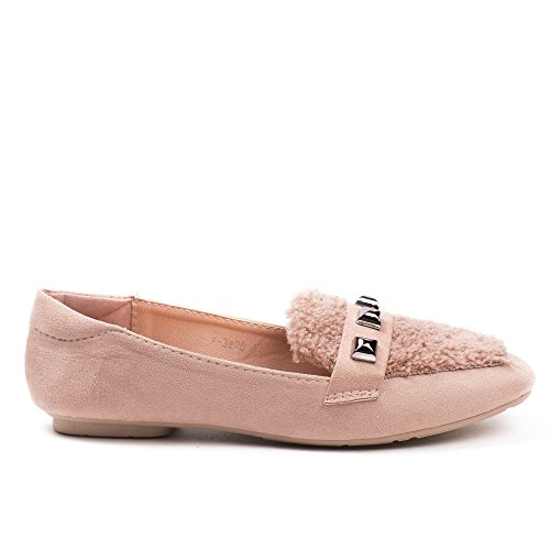 Ideal Shoes Slippers BI-Matière avec Strass Gabriele Rose