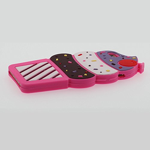 """Bunt Eiscreme Aussehen Schutzhülle iPhone 6 Plus Hülle Mädchen Stil, iPhone 6S Plus 5.5"""" Case, Sehr weich Silikon Case - Pink Hot Pink"""