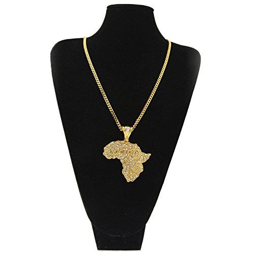 renyz. ZKHN Karte von Afrika Karte von Afrika mit eine Diamant weiß Hip-Hop k6mm Twist Kette Diamant Karte von Afrika Diamant Karte, silber Karte, The golden african map 6mm twist chain