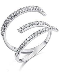 waterlucy 18K chapado en oro blanco Simple de la Irregular anillos de gancho para las mujeres joyas (tamaño 0,5K a tamaño 0.5R)