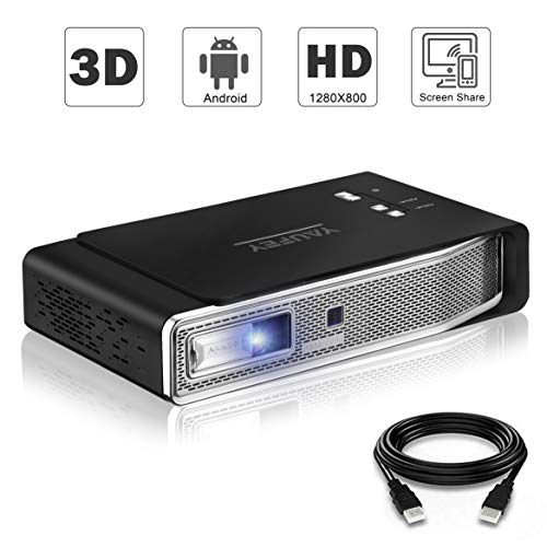 Yaufey 3D Mini Beamer unterstützt 1080P Full HD 3D Film, 4200 Lumen DLP-Projektor Installiertes Android-Betriebssystem, Stellen Sie über WLAN eine Verbindung zu Ihrem Telefon her, Heimkino Beamer