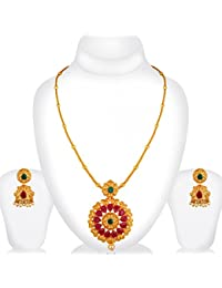 Spargz Antique Wedding Wear Gold Plated Ruby Emerald Flower Pendant Set For Women AIPS 286