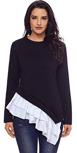 Rüschensaum Volant Rüschen Saum Asymmetrisch Hoch Niedrig Saum Unregelmäßige Saum Sweatshirt Blouse Bluse Shirt Hemd T-Shirt Tee Oberteil Top Schwarz M -