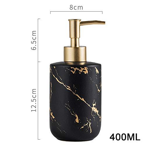 Soap dispenser Lotion Flasche,Shampoo Spender, Duschgel Flasche, Keramik/Metallpumpe - Golden Marmor Textur - 400ml (Matt Schwarz, Weiß, Grau) WWWRL - Keramik-soap