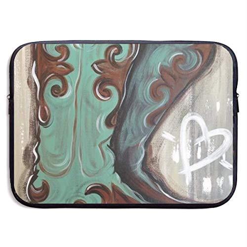 Oil Paint Cowboy Boots 13-15 Inch Laptop Sleeve Bag Portable Dual Zipper Case Cover Pouch Holder Pocket Tablet Bag,Water Resistant,Black,15inch Samsonite Laptop Roller