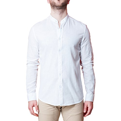 Camicia uomo collo coreano lino elegante slim fit manica lunga sartoriale classica camicetta casual sotto giacca (l, bianco)