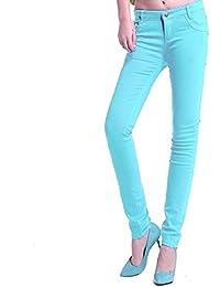 ClothingLoves mediados de cintura de la mujer Candy Color algodón Skinny lápiz pantalones