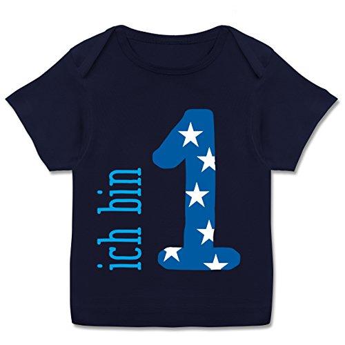 Geburtstag Baby - Ich bin 1 Blau Junge Erster - 80-86 (18 Monate) - Navy Blau - E110B - Kurzarm Baby-Shirt für Jungen und Mädchen in verschiedenen Farben (Sieht T-shirt Alt Aus Wie)