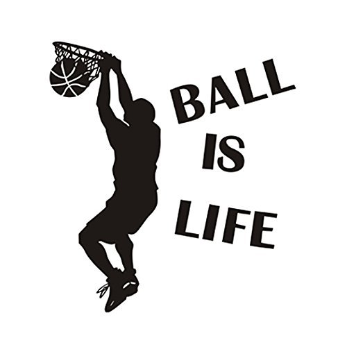 Wandaufkleber Aufkleber Ball ist Leben Wandtattoo - Springen Dunk Basketball Dekorwand - Entfernbarer Wanddeko Sport Style Basketball Wandtattoo für Kinder Jungen Teens von Hatisan-Pro - Pro Style Wand