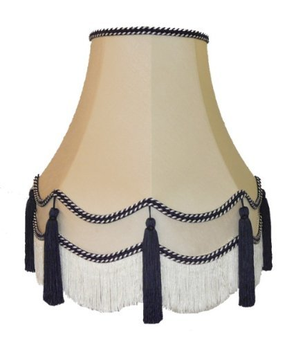 Premier Lampshades 18 Inch Laura Blue Tassel Fabric Lampshade