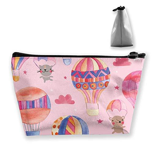 Tiere in Hot Air Balloons Womens Reisen Kosmetiktasche Portable Toiletry Brush Storage Brush-denim