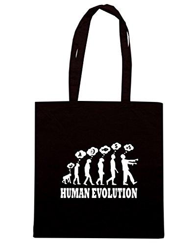T-Shirtshock - Borsa Shopping T1063 evoluzione umana human evolution Nero