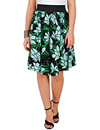 GREEN FLORAL LEAF PRINT SKIRT