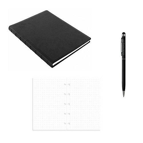 Set Bullet Zeitung Filofax Notebook A5schwarz + 1Nachfüllpack Blatt Noten-pointées A5+ 1Stift Blumie