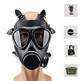 ACLBB Masque À Gaz pour Respirateur Complet, Masque À Gaz en Silicone À Vapeurs Organiques, Antivirus pour Peinture Chimique, Noir (Respirateur + Bidon + Sac De Camouflage + Étui À Masque)