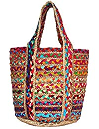 HabereIndia Girl's Jute Elegant Chic Tote Bag (Multicolour)