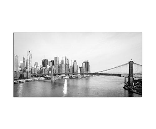 120x60cm - Wandbild schwarz weiß auf Leinwand als Panorama New York und Brooklyn Bridge Hängebrücke über den East River Manhattan Skyline in New York City