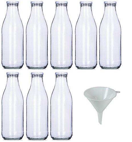 Viva Haushaltswaren - 8 x Weithals-Glasflasche 1000 ml mit weißem Schraubverschluss, als Milchflasche, Saftflasche & Smoothieflasche verwendbar (inkl. Trichter Ø 9 cm)