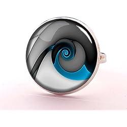 Anillo en espiral, anillo de plata con diseño de cuadros fractales, joyería azul y gris, anillo de cristal de cabujón, anillo ajustable,