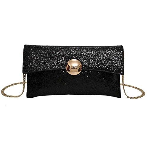 Damenmode Pailletten Umhängetasche Gurt Tasche Messenger Bag Black
