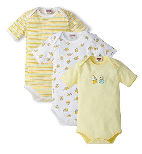 Schnizler Unisex Baby Body im 3er Pack kurzarm Clowns, Alloverdruck und geringelt, Gr. 74 (Herstellergröße: 74/80), Gelb (gelb 12)