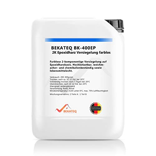 Bekateq BK-400EP 2K Epoxidharz Bodenversiegelung 1,5kg, farblos, seidenglanz, schlagfest, lösemittelbeständig, wasserfest