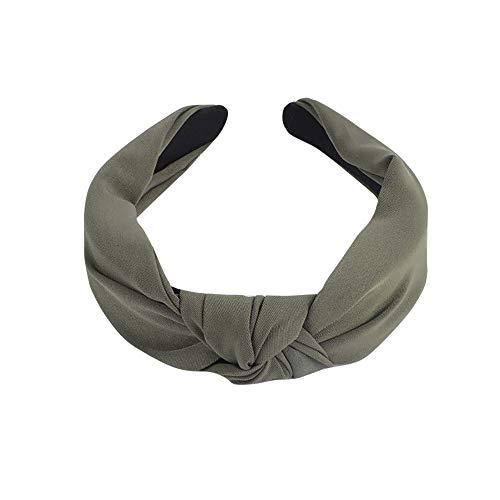 YWLINK Mode Knoten Haarband Volltonfarbe Retro Elegant Frauen Haar Kopfband SüßE MäDchen Haar Stirnband(Armeegrün) (Flapper-frisuren Für Lange Haare)
