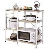 Soges 3 Schichten Küchenregallagerung Regal für Mikrowelle multifunktionale Küche Regale Schwarz