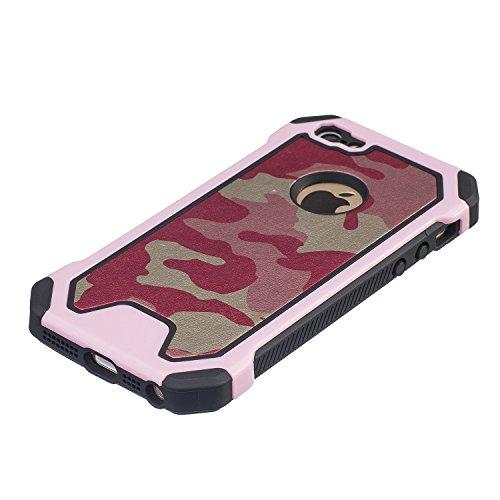 MOONCASE iPhone 6S Custodia, Camuffamento Dual Layer Case ibrida Rigida Morbido TPU resistente agli urti e asportabile di protezione Cover per iPhone 6 6S 4.7 Verde Rosa