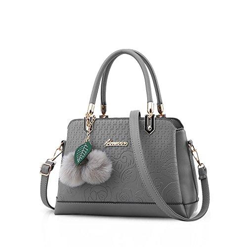 NICOLE&DORIS Neue Mode Damen Handtaschen Umhängetasche Tasche Crossbody Tasche Ornaments PU Grau (Tasche Damen Neue Mode)