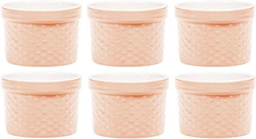 Palais Geschirr Auflaufförmchen Collection Porzellan Soufle Gerichte 4 Oz - Set of 6 Peach - Dots Finish